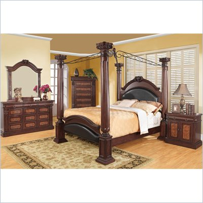 Coaster Grand Prado 5 Piece Bedroom Set in Warm Cherry Finish
