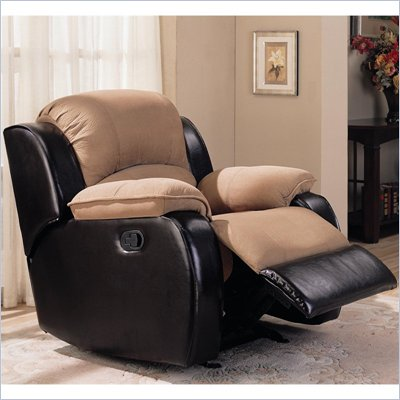 Coaster Gulliver Rocker Recliner with Dual Vinyl and Microfiber Upholstery