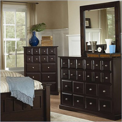 Coaster Harbor Classic 8 Drawer Dresser and Mirror Set in Cappuccino