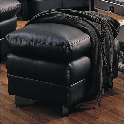 Coaster Harper Overstuffed Leather Ottoman in Black