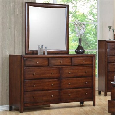 Coaster Hillary and Scottsdale Dresser and Mirror Set in Warm Brown