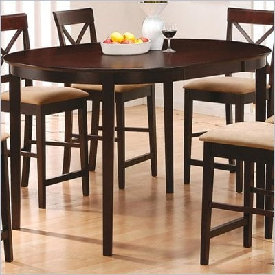Coaster Hyde Oval Counter Height Dining Table in Rich Dark Cappuccino