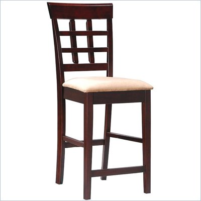 Coaster Hyde 24&quot; Wheat Back Bar Stool with Fabric Seat in Cappuccino