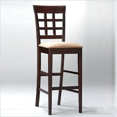Coaster Hyde 30&quot; Wheat Back Bar Stool with Fabric Seat in Cappuccino