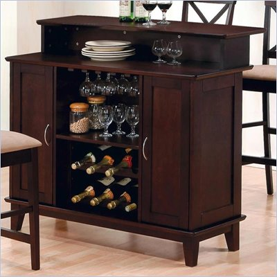 Coaster Hyde Contemporary Home Bar in Rich Cappuccino Finish