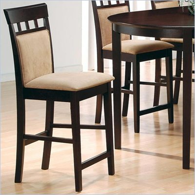 Coaster Hyde 24 Inch Upholstered Panel Back Cappuccino Bar Stool