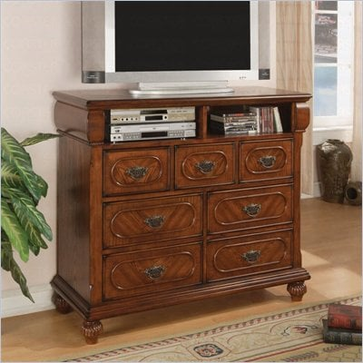 Coaster Isabella 7 Drawer Media Chest in Medium Brown Finish