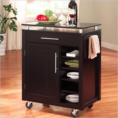 Coaster Kitchen Cart w/ 6 Shelves & Caster in Black