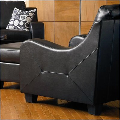 Coaster Java Contemporary Chair in Rich Black Bonded Leather