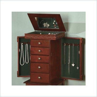Coaster Five Drawer Jewelry Armoire with Fluted Accents in Brown