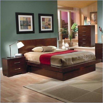 Coaster Joyce Platform Bed 2 Piece Bedroom Set in Light Cappuccino