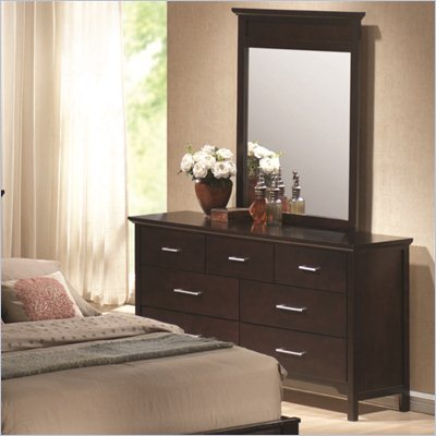 Coaster Kendra Dresser and Mirror Set in Mahogany Finish