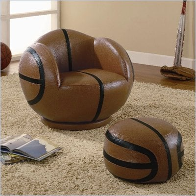 Coaster Kids Sports Chairs Small Kids Basketball Chair and Ottoman