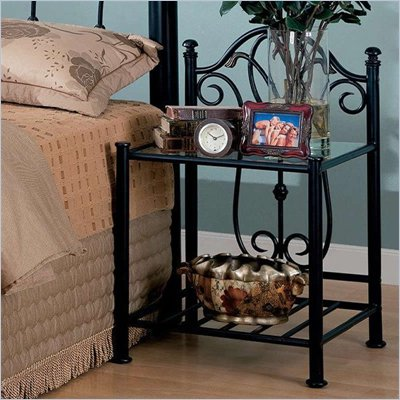 Coaster Lamar Casual Iron Nightstand in Black