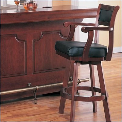Coaster Lambert Leather Back Swivel Bar Stool in Cherry