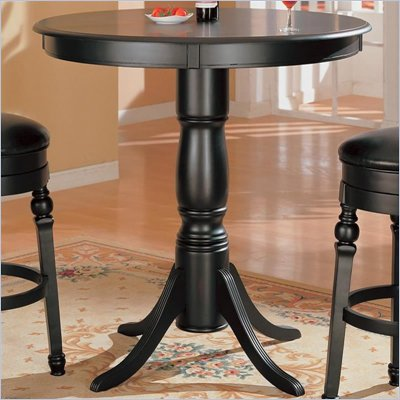 Coaster Lathrop Classic Round Pedestal Pub Table in Black Finish