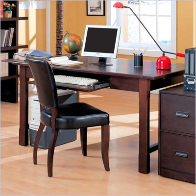 Coaster Laval Table Desk with Drop-Front Keyboard Drawer in Espresso