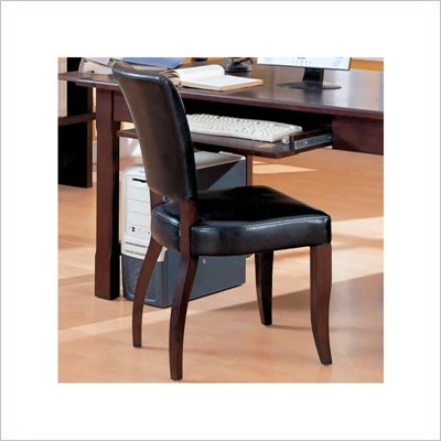 Coaster Laval Desk Chair w/ Black Faux Leather Upholstery in Espresso