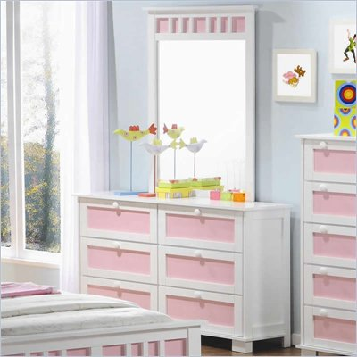 Coaster Lindsley 6 Drawer Youth Dresser and Mirror Set in White