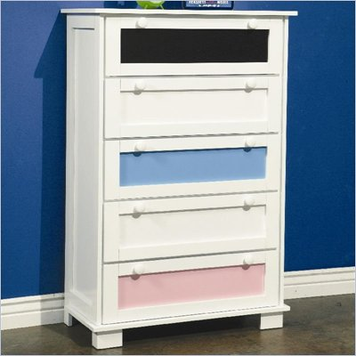 Coaster Lindsley 5 Drawer Chest with Interchangeable Panels in White