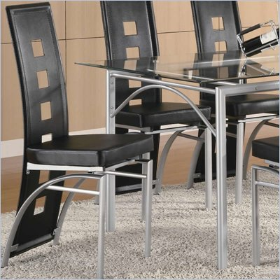 Coaster Los Feliz Metal Dining Chair with Black Vinyl in Matte Silver