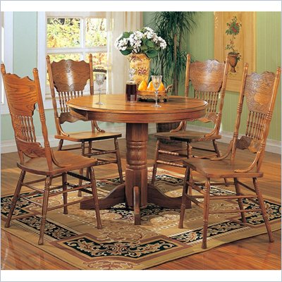 Coaster Mackinaw Round Pedestal Wood Dining Table in Medium Oak