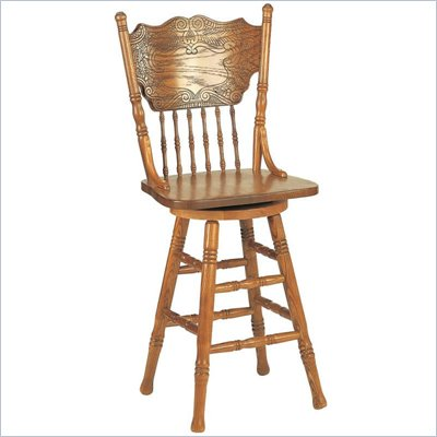 Coaster Mackinaw 24&quot; Victorian Press Back Bar Stool in Oak