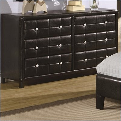 Coaster Micah 6 Drawer Double Dresser in Black Vinyl