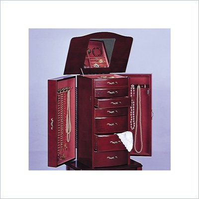 Coaster Eight Drawer Deluxe Antique Style Jewelry Armoire in Mahogany