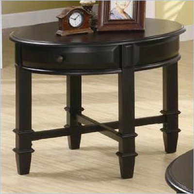 Coaster Montrose Round End Table with Drawer in Rich Black