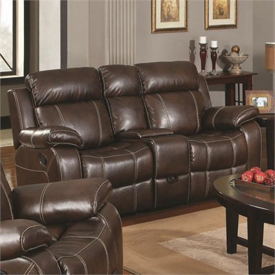 Coaster Myleene Leather Double Gliding Love Seat in Brown