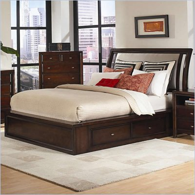 Coaster Nadine Upholstered Captain's Bed in Warm Brown Finish