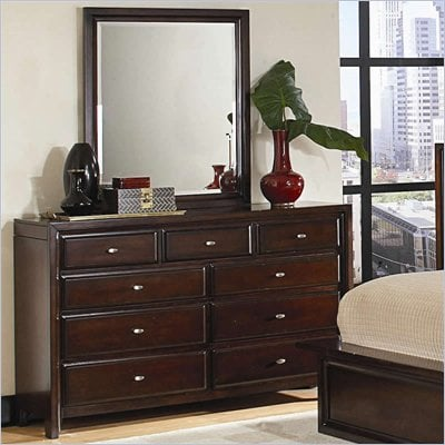 Coaster Nadine 11 Drawer Dresser and Mirror Set in Warm Brown Finish