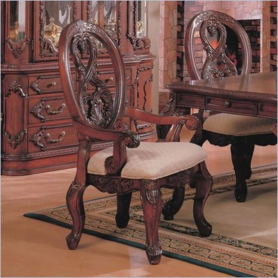Coaster Nottingham Carved Arm Chair with Cabriole Legs in Rich Brown