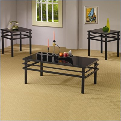 Coaster 3 Piece Occasional Table Sets Modern Coffee and End Table Set in Black