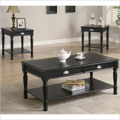Coaster 3 Piece Occasional Table Sets Traditional Coffee and End Table in Black