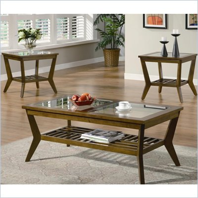 Coaster 3 Piece Occasional Table Sets Coffee and End Table in Oak Finish