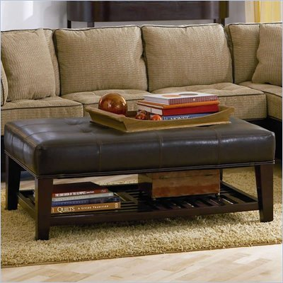 Coaster Ottomans Contemporary Faux Leather Tufted Ottoman with Storage Shelf