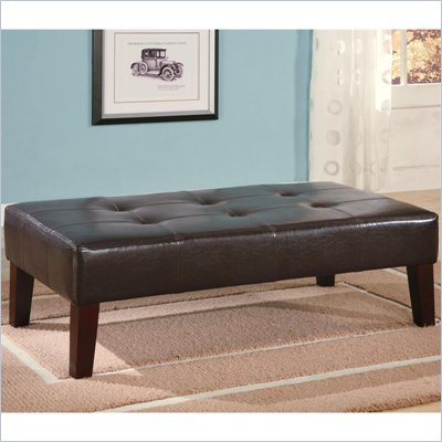 Coaster Dark Brown Contemporary Rectangular Tufted Faux Leather Ottoman
