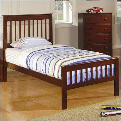 Coaster Parker Twin Slat Bed in Deep Dark Cappuccino Finish