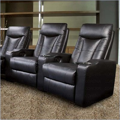 Coaster Pavillion Theater Seating - 2 Black Leather Chairs