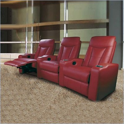 Coaster Pavillion Theater Seating - 2 Red Leather Chairs