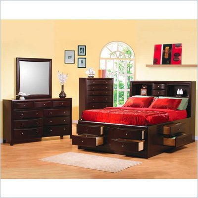 Coaster Phoenix Bookcase Storage Bed 4 Piece Bedroom Set in Cappuccino