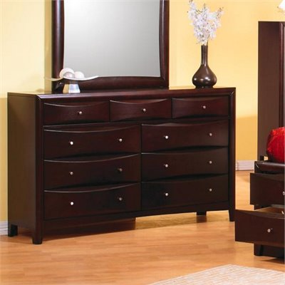 Coaster Phoenix Dresser in Rich Cappuccino Finish
