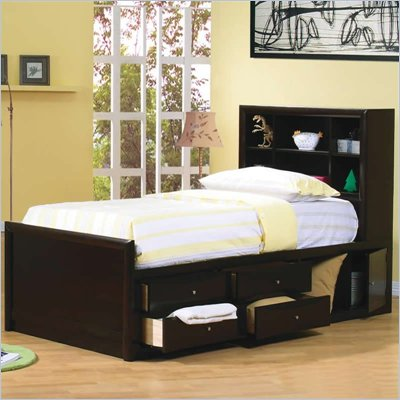 Coaster Phoenix Bookcase Storage Bed in Cappuccino Finish