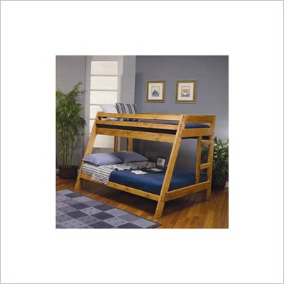 Coaster Rustic Wood Twin over Full Bunk Bed in Natural Wood Finish