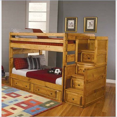 Coaster Rustic Full Over Full Complete Wood Stairway Bunk Bed in Natural Wood