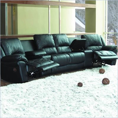 Coaster Promenade Black Leather-Match Reclining Home Theater Sectional Sofa