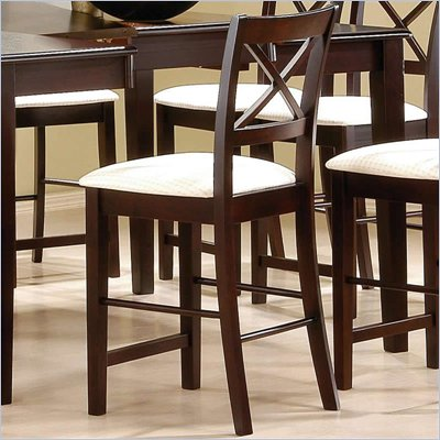 Coaster Pryor 24&quot; Bar Stool with &quot;X&quot; Back &amp; Fabric Seat in Cappuccino
