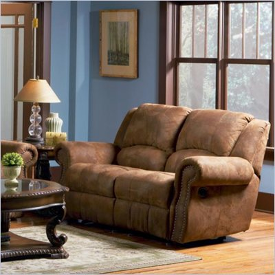 Coaster Rawlinson Double Reclining Rocking Loveseat in Brown Microfiber